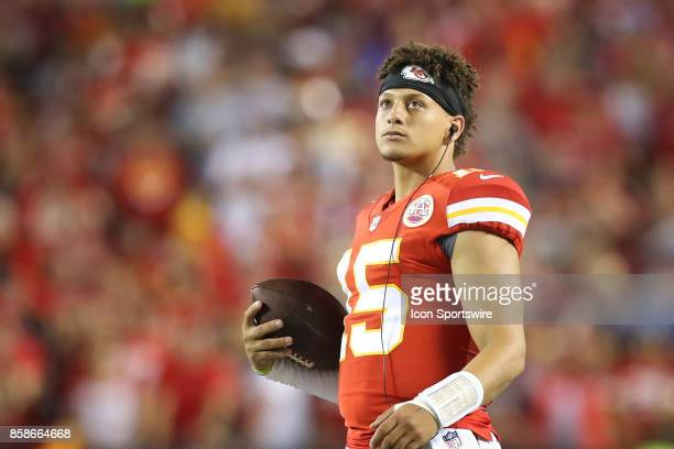 Kansas City Chiefs quarterback Patrick Mahomes during a time out in the second quarter of an NFL game between the Washington Redskins and Kansas City...