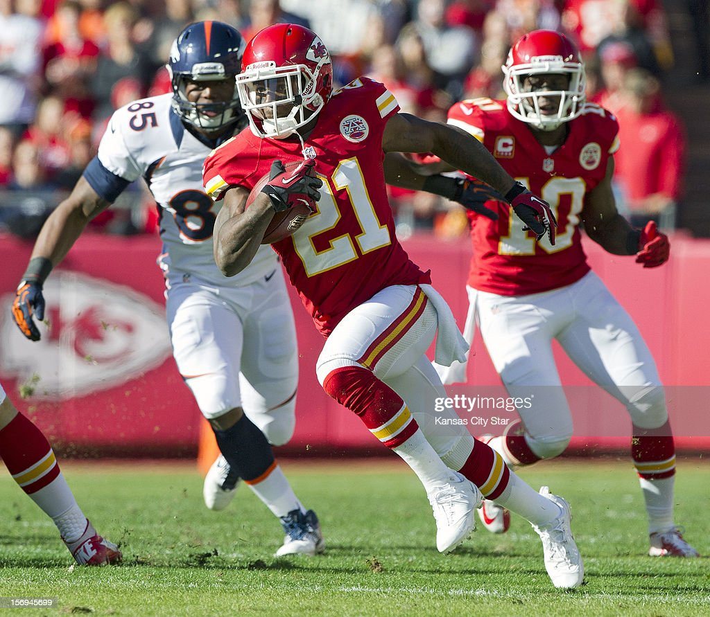 Kansas City Chiefs returner Javier Arenas (21) brings the ball back 20 yards on a punt return in the first quarter at Arrowhead Stadium on Sunday, November 25, 2012, in Kansas City, Missouri. The Denver Broncos defeated the Kansas City Chiefs, 17-9.