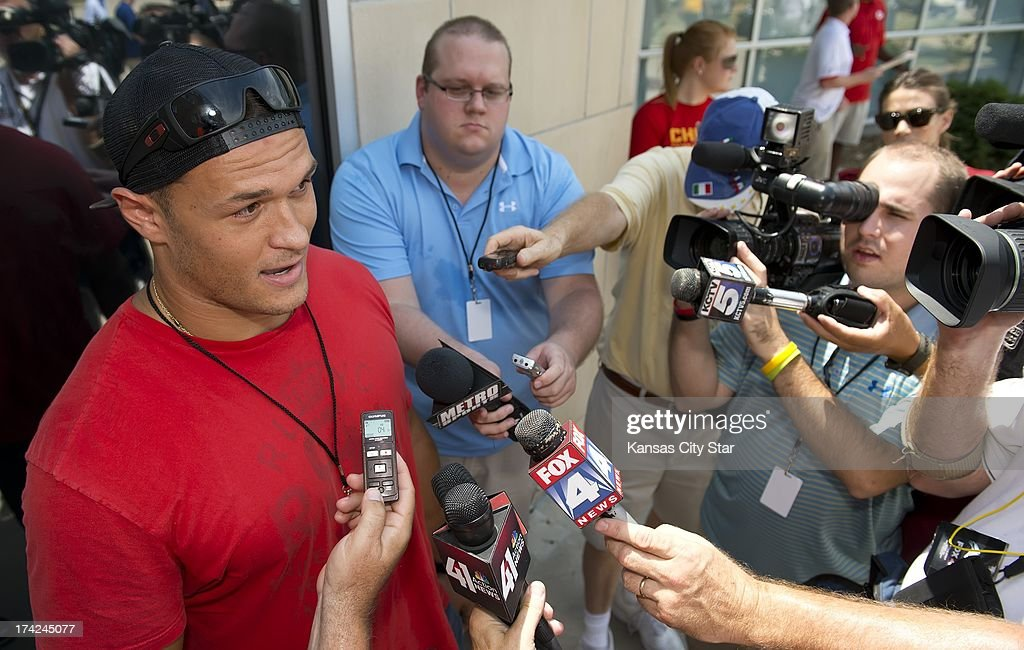 Kansas City Chiefs rookie linebacker Mike Catapano, the team's seventh-round draft pick from Princeton, speaks to the media on his arrival at the Chiefs training camp at Missouri Western State University in St. Joseph, Missouri, Monday, July 22, 2013.