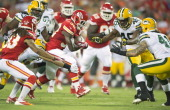 Kansas City Chiefs running back Cyrus Gray picks up a first down in the second quarter against the Green Bay Packers during a preseason game at...