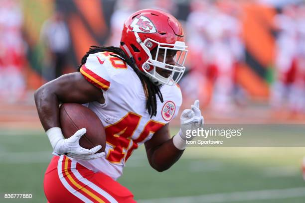 Kansas City Chiefs running back Devine Redding carries the ball before the preseason game against the Kansas City Chiefs and the Cincinnati Bengals...