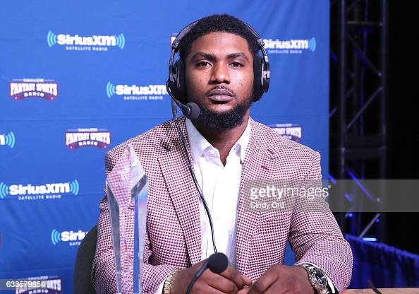 Kansas City Chiefs running back Spencer Ware visits the SiriusXM set at Super Bowl 51 Radio Row at the George R Brown Convention Center on February 2...
