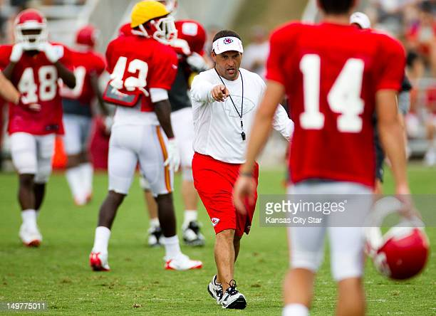 Kansas City Chiefs special teams coach Tom McMahon calls out instructions as he works with the punt team during training camp at Missouri Western...