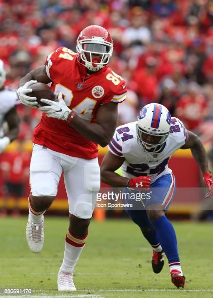 Kansas City Chiefs tight end Demetrius Harris beats Buffalo Bills defensive back Leonard Johnson for a 28yard reception and the Chiefs only first...
