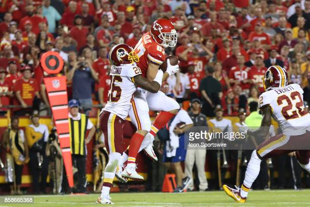 Kansas City Chiefs tight end Travis Kelce catches a 14yard touchdown pass in front of Washington Redskins cornerback Bashaud Breeland late in the...