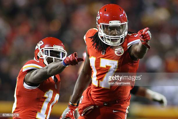 Kansas City Chiefs wide receiver Chris Conley and wide receiver Tyreek Hill celebrate Conley's 31yard reception in the second quarter of a Thursday...