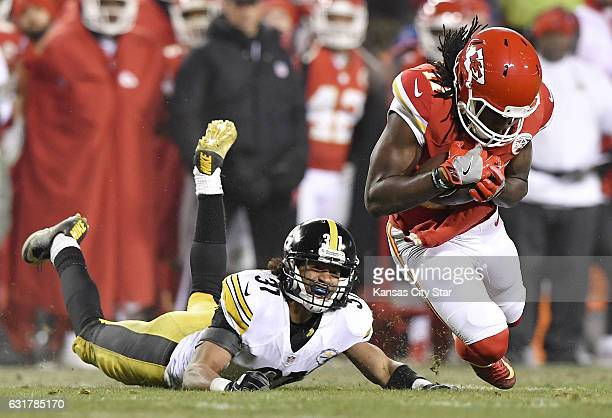 Kansas City Chiefs wide receiver Chris Conley catches a first down pass in front of Pittsburgh Steelers cornerback Ross Cockrell in the fourth...