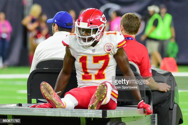 Kansas City Chiefs wide receiver Chris Conley is carted off the field with a knee injury during the football game between the Kansas City Chiefs and...
