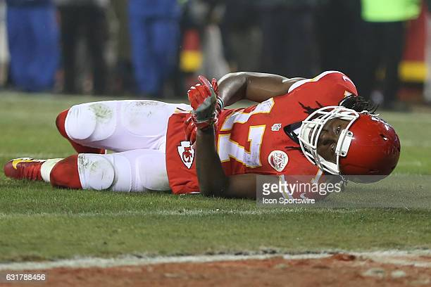 Kansas City Chiefs wide receiver Chris Conley lays injured on the field after a big hit from Pittsburgh Steelers defensive back Cortez Allen late in...