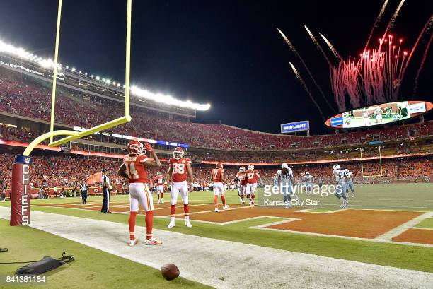 Kansas City Chiefs wide receiver Demarcus Robinson celebrates his 28yard touchdown reception from quarterback Patrick Mahomes in the second quarter...