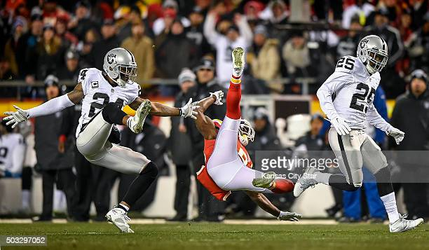 Kansas City Chiefs wide receiver Jeremy Maclin injures his groin on this thirdquarter pass incompletion while being defended by Oakland Raiders free...