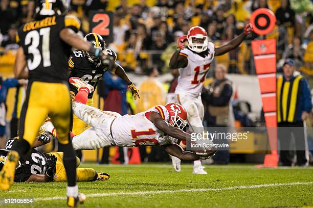 Kansas City Chiefs Wide Receiver Tyreek Hill dives for the end zone during the NFL Football game between the Kansas City Chiefs and Pittsburgh...