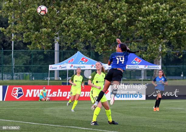 Kansas City forward Sydney Leroux header attempt goes wide in the first half of an NWSL match between the Seattle Reign FC and FC Kansas City on June...
