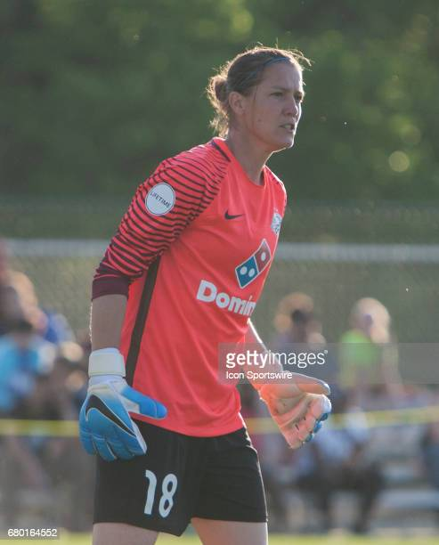 Kansas City Goalkeeper Nicole Barnhart gets set during the NWSL Match between the Orlando Pride and FC Kansas City on Sunday May 7th 2017 played at...