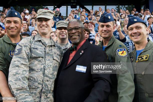 Kansas City Mayor Sly James poses with members of the Air Force and A10 wing during the match between Sporting Kansas City and Atlanta United FC on...