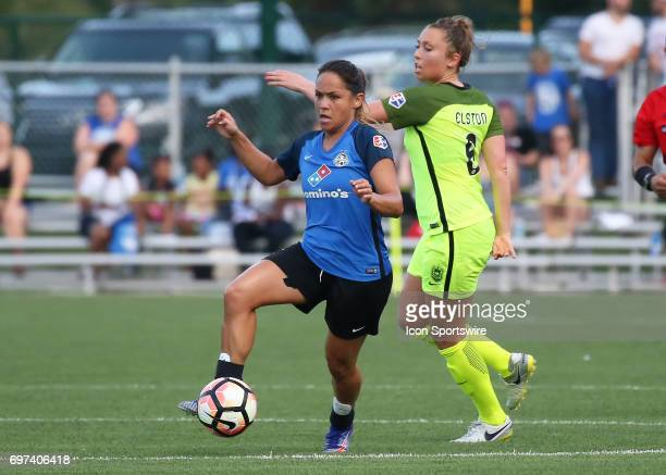 Kansas City midfielder Lo'eau Labonta makes a run in the first half of an NWSL match between the Seattle Reign FC and FC Kansas City on June 17 2017...