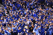 Kansas City Royal fans cheer in the 9th inning during Game 6 of the 2014 World Series against the San Francisco Giants on Tuesday October 28 2014 at...