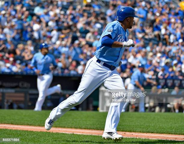 Kansas City Royals' Alcides Escobar heads to first on a tworun single that scored Salvador Perez and Brandon Moss in the second inning against the...