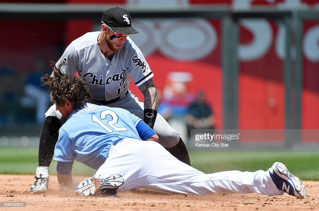 Kansas City Royals' Brett Eibner is tagged out at second by Chicago White Sox second baseman Brett Lawrie trying to stretch a hit during the second inning on Sunday, May 29, 2016, at Kauffman Stadium in Kansas City, Mo.