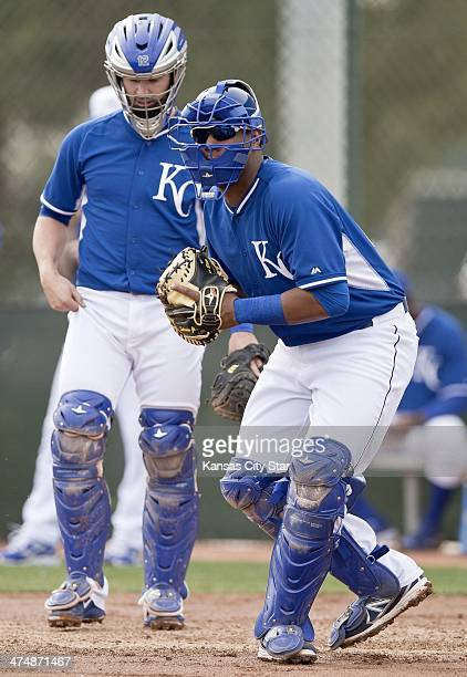 Kansas City Royals catchers Salvador Perez right and Brett Hayes take part in infield practice during a spring training workout on Tuesday Feb 25 in...