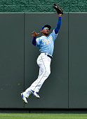 Kansas City Royals center fielder Jarrod Dyson catches a fly ball out on Chicago White Sox's Jose Abreu during the first inning on Sunday Aug 9 at...
