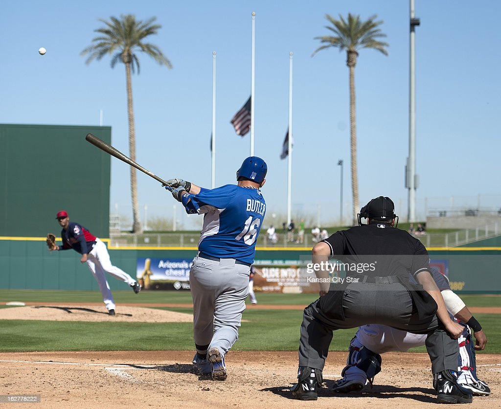 Kansas City Royals designated hitter Billy Butler (16) connects on a two-run home run against the Cleveland Indians in the fifth inning of a spring training game at Goodyear Stadium in Goodyear, Arizona, Tuesday, February 26, 2013. The Royals defeated the Indians, 4-1.