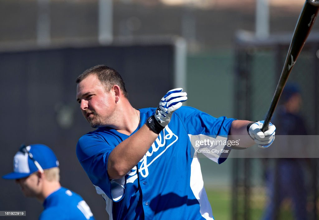 Kansas City Royals designated hitter Billy Butler (16) takes a swing during a spring training workout in Surprise, Arizona, Sunday, February 17, 2013.