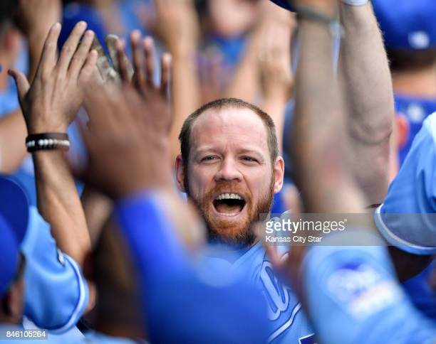 Kansas City Royals designated hitter Brandon Moss celebrates his first inning grand slam against the Chicago White Sox on Tuesday Sept 12 2017 at...