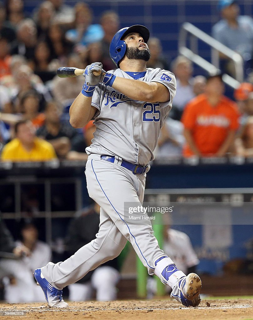 Kansas City Royals designated hitter Kendrys Morales hits a fly out in the ninth inning against the Miami Marlins on Wednesday Aug 24 2016 at Marlins...