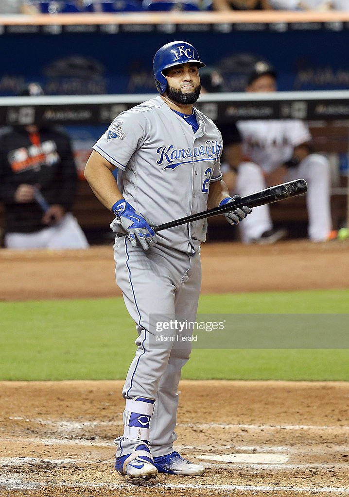 Kansas City Royals designated hitter Kendrys Morales reacts after striking out swinging in the seventh inning against the Miami Marlins on Tuesday...
