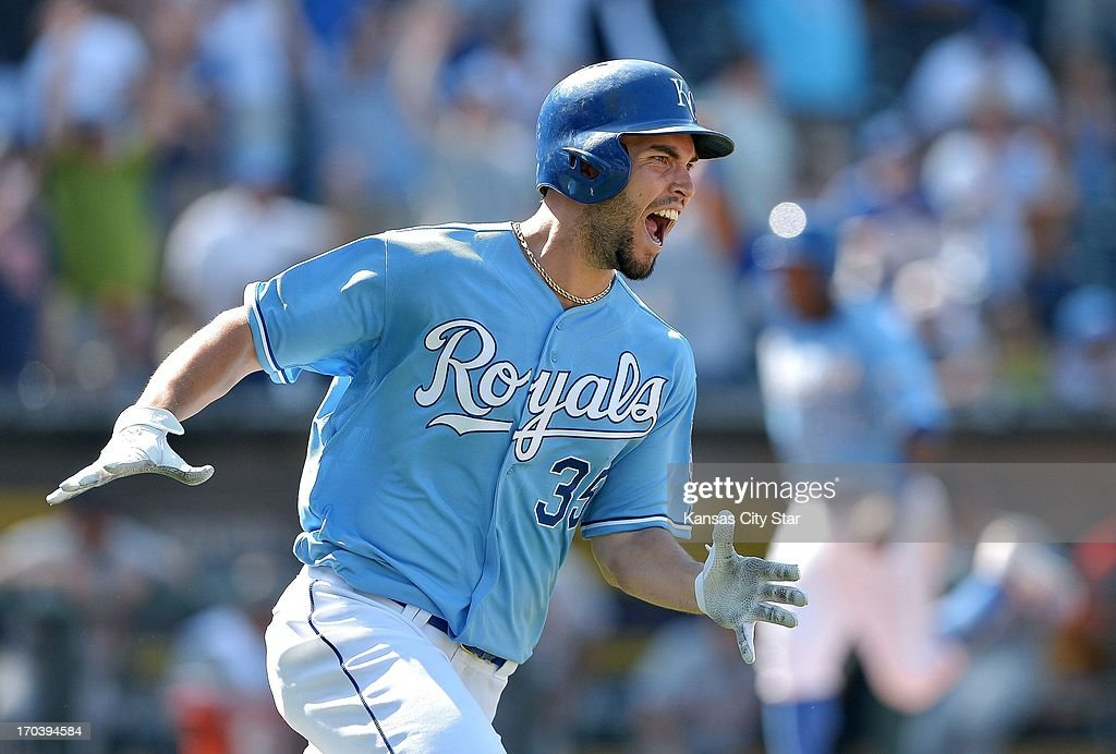 Kansas City Royals' Eric Hosmer (35) celebrates getting the game-winning hit to score Miguel Tejada from third in the 10th inning against the Detroit Tigers during Wednesday's baseball game against the Kansas City Royals on June 12, 2013, at Kauffman Stadium in Kansas City, Missouri. Royals win, 3-2.