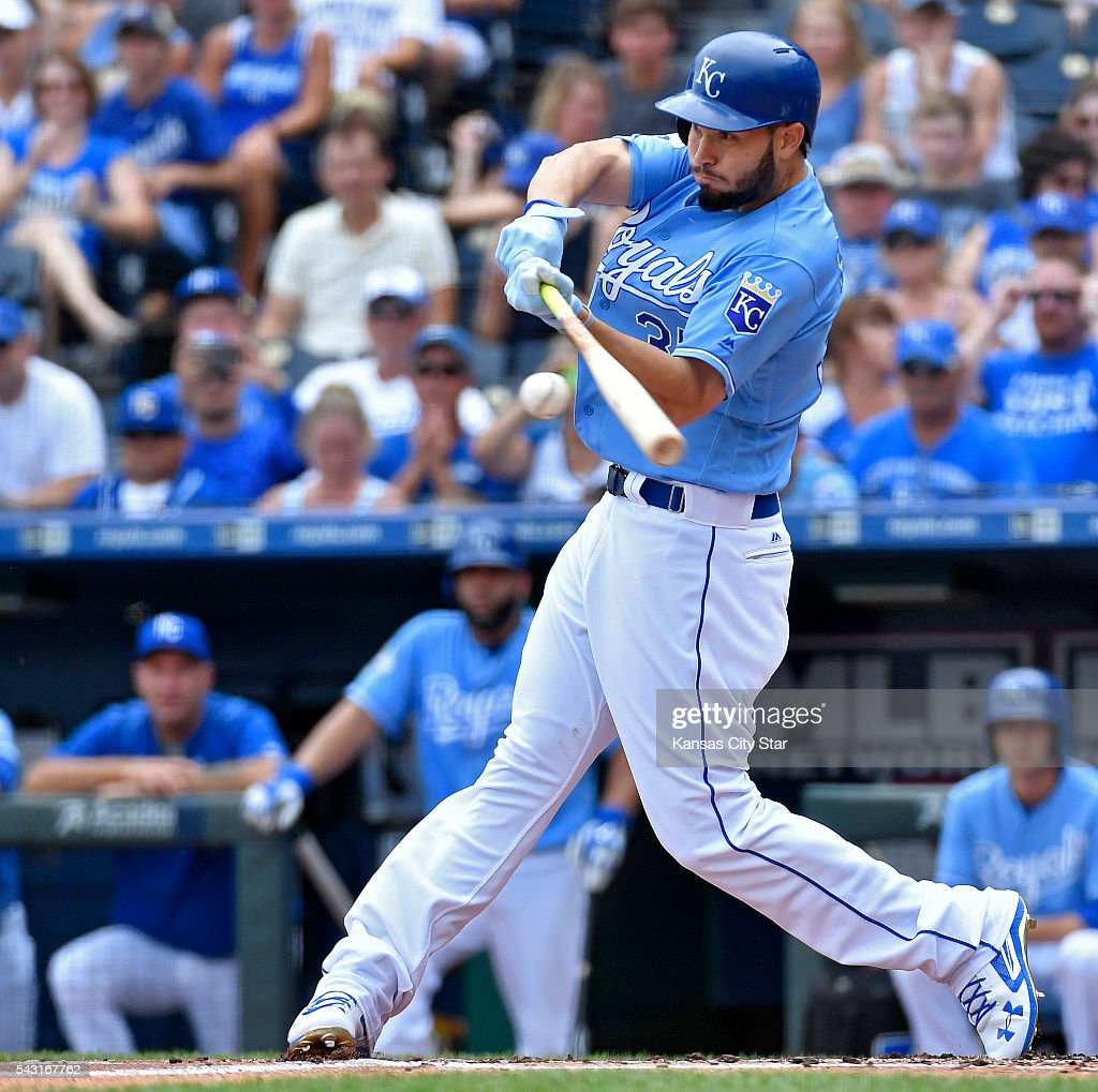 Kansas City Royals' Eric Hosmer connects on a single during the first inning on Sunday, June 26, 2016, at Kauffman Stadium in Kansas City, Mo.