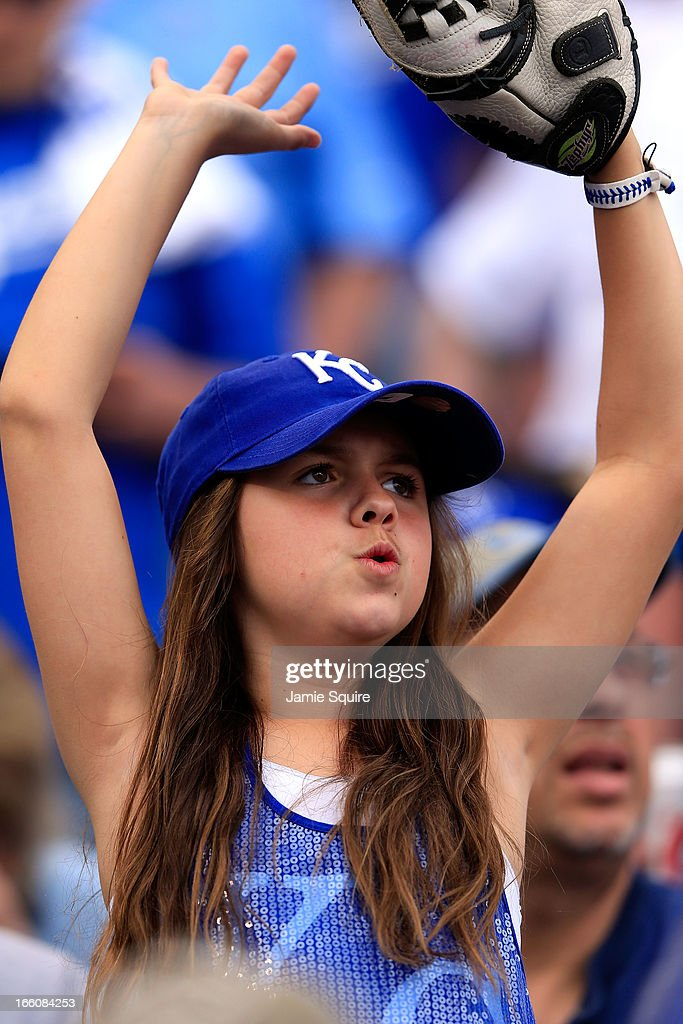 A Kansas City Royals fan cheers during the Kansas City Royals home opener against the Minnesota Twins at Kauffman Stadium on April 8, 2013 in Kansas City, Missouri.