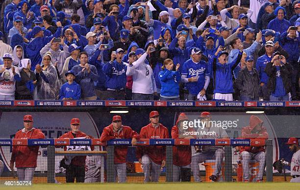 Kansas City Royals fans cheer above the Los Angeles Angels of Anaheim dugout during game 3 of the American League Division Series on October 5 2014...