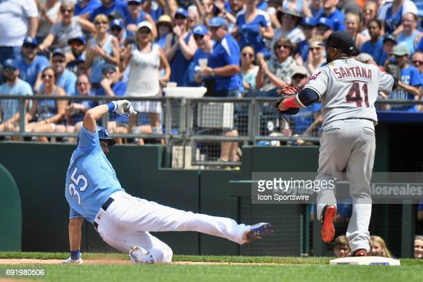 Kansas City Royals first baseman Eric Hosmer is safe at first on a wild pitch by Cleveland Indians relief pitcher Nick Goody despite striking out...