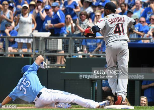 Kansas City Royals first baseman Eric Hosmer is safe on a wild pitch by Cleveland Indians relief pitcher Nick Goody 944 despite striking out during a...