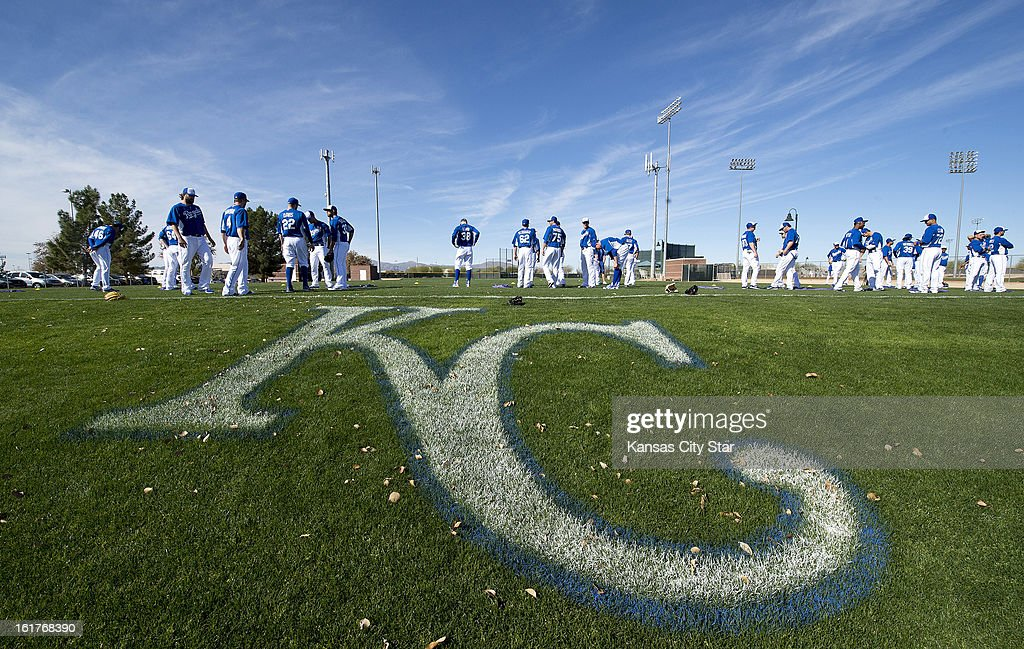 Kansas City Royals gather on the first official day of full team workouts during spring training on Friday, February 15, 2013, in Surprise, Arizona.