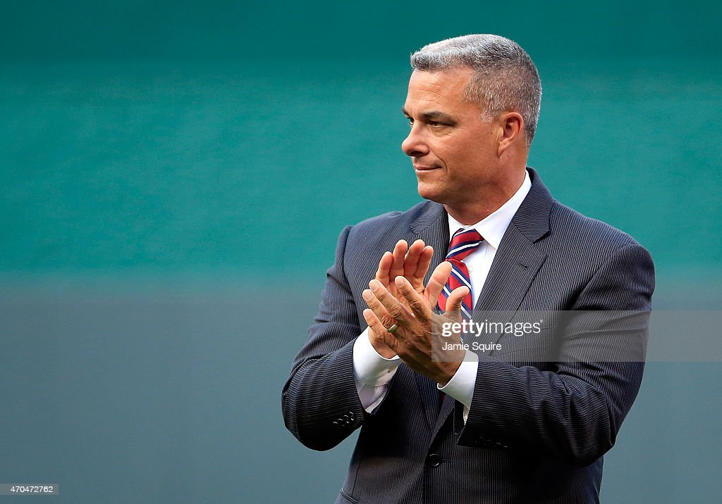 Kansas City Royals General Manager <a gi-track='captionPersonalityLinkClicked' href=/galleries/search?phrase=Dayton+Moore&family=editorial&specificpeople=4308708 ng-click='$event.stopPropagation()'>Dayton Moore</a> watches pregame activities prior to the game against the Oakland Athletics at Kauffman Stadium on April 17, 2015 in Kansas City, Missouri.