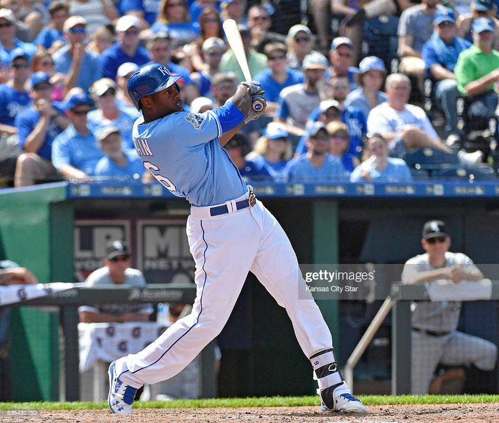 Kansas City Royals' Lorenzo Cain follows through on his solo home run during the eighth inning on Sunday, May 29, 2016, at Kauffman Stadium in Kansas City, Mo.
