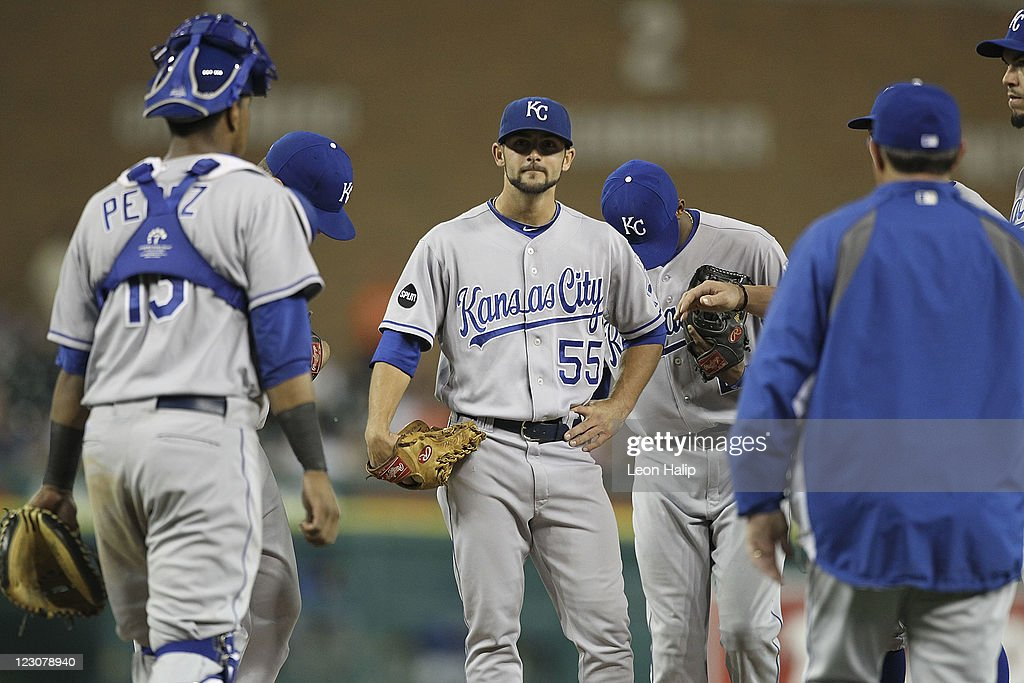 Kansas City Royals manager <a gi-track='captionPersonalityLinkClicked' href=/galleries/search?phrase=Ned+Yost&family=editorial&specificpeople=228571 ng-click='$event.stopPropagation()'>Ned Yost</a> walks to the mound to make a pitching chang removing <a gi-track='captionPersonalityLinkClicked' href=/galleries/search?phrase=Tim+Collins+-+Jugador+de+b%C3%A9isbol&family=editorial&specificpeople=8616741 ng-click='$event.stopPropagation()'>Tim Collins</a> #55 from the game in the eighth inning of the game against the Detroit Tigers at Comerica Park on August 29, 2011 in Detroit, Michigan. The Royals defeated the Tigers 9-5.