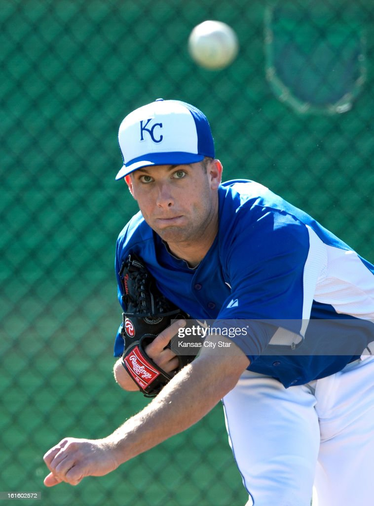 Kansas City Royals pitcher Danny Duffy throws for the first time off the mound, after having reconstructive elbow surgery last year, during spring training in Suprise, Arizona, Tuesday, February 12, 2013.