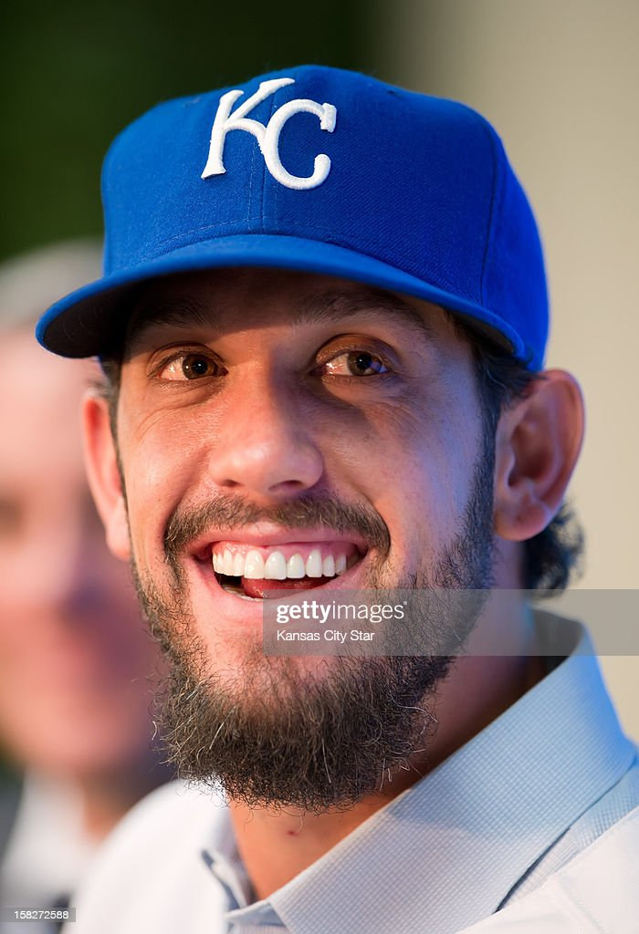 Kansas City Royals pitcher James Shields, obtained in a trade with the Tampa Bay Rays, smiles during his introductory news conference, Wednesday, December 12, 2012, at Kauffman Stadium in Kansas City, Missouri.