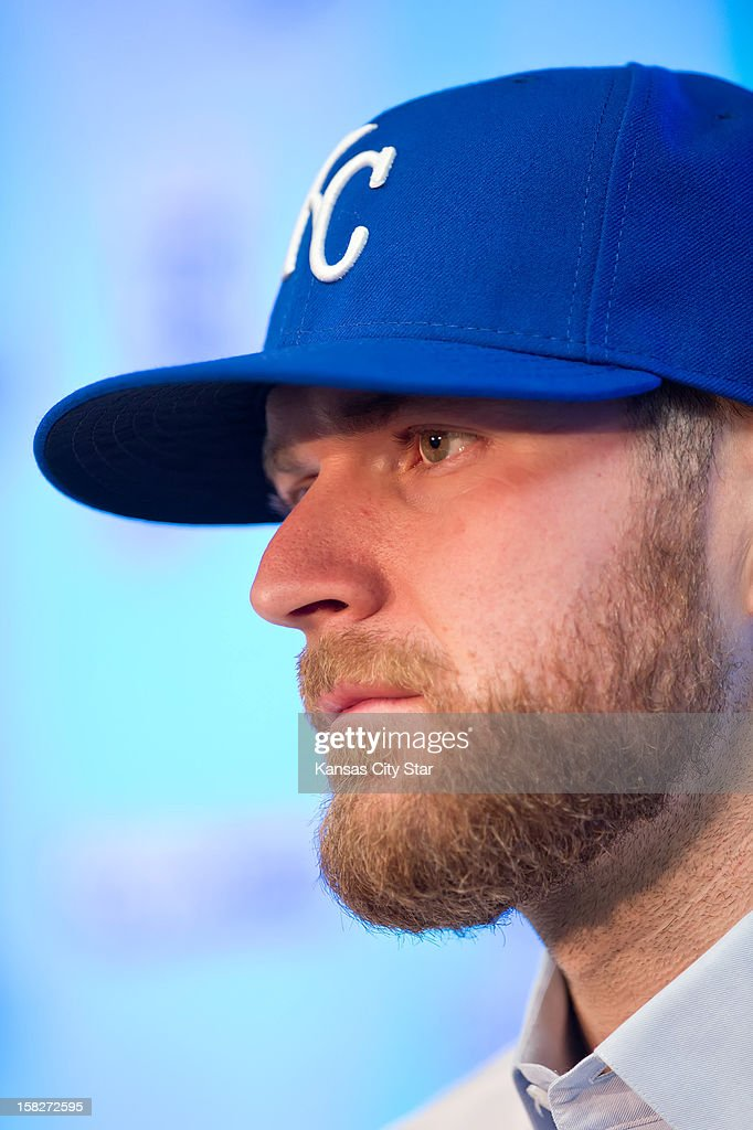 Kansas City Royals pitcher Wade Davis, obtained in a trade with the Tampa Bay Rays, is introduced to the media at a news conference, Wednesday, December 12, 2012, at Kauffman Stadium in Kansas City, Missouri.