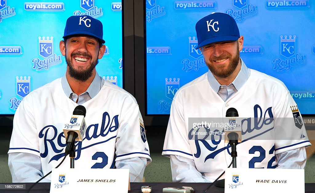 Kansas City Royals pitchers James Shields, left, and Wade Davis, obtained in a trade with the Tampa Bay Rays, smile during their introductory news conference, Wednesday, December 12, 2012, at Kauffman Stadium in Kansas City, Missouri.
