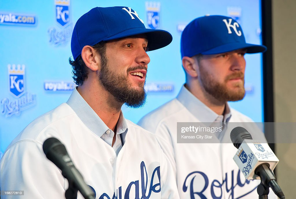 Kansas City Royals pitchers James Shields, left, and Wade Davis, obtained in a trade with the Tampa Bay Rays, speak during their introductory news conference, Wednesday, December 12, 2012, at Kauffman Stadium in Kansas City, Missouri.