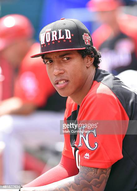Kansas City Royals prospect Raul Mondesi of the World Team looks on from the dugout during the SiriusXM AllStar Futures Game against Team USA at...