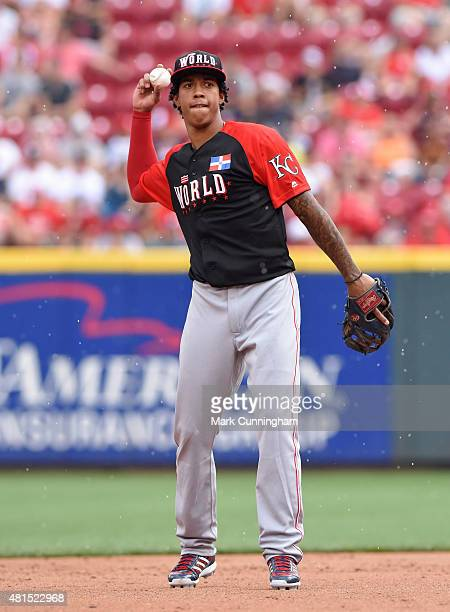 Kansas City Royals prospect Raul Mondesi of the World Team looks on during the SiriusXM AllStar Futures Game against Team USA at Great American Ball...