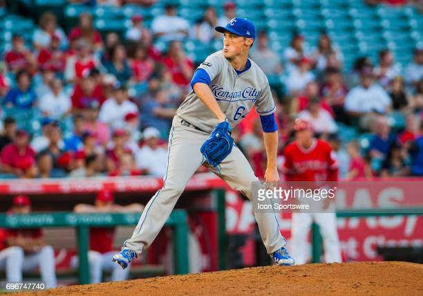 Kansas City Royals relief pitcher Matt Strahm during the regular season game between the Los Angeles Angels verses the Kansas City Royals at Angel...