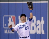 Kansas City Royals right fielder Norichika Aoki catches a fly ball for an out on the Detroit Tigers' Austin Jackson in the third inning on Friday May...