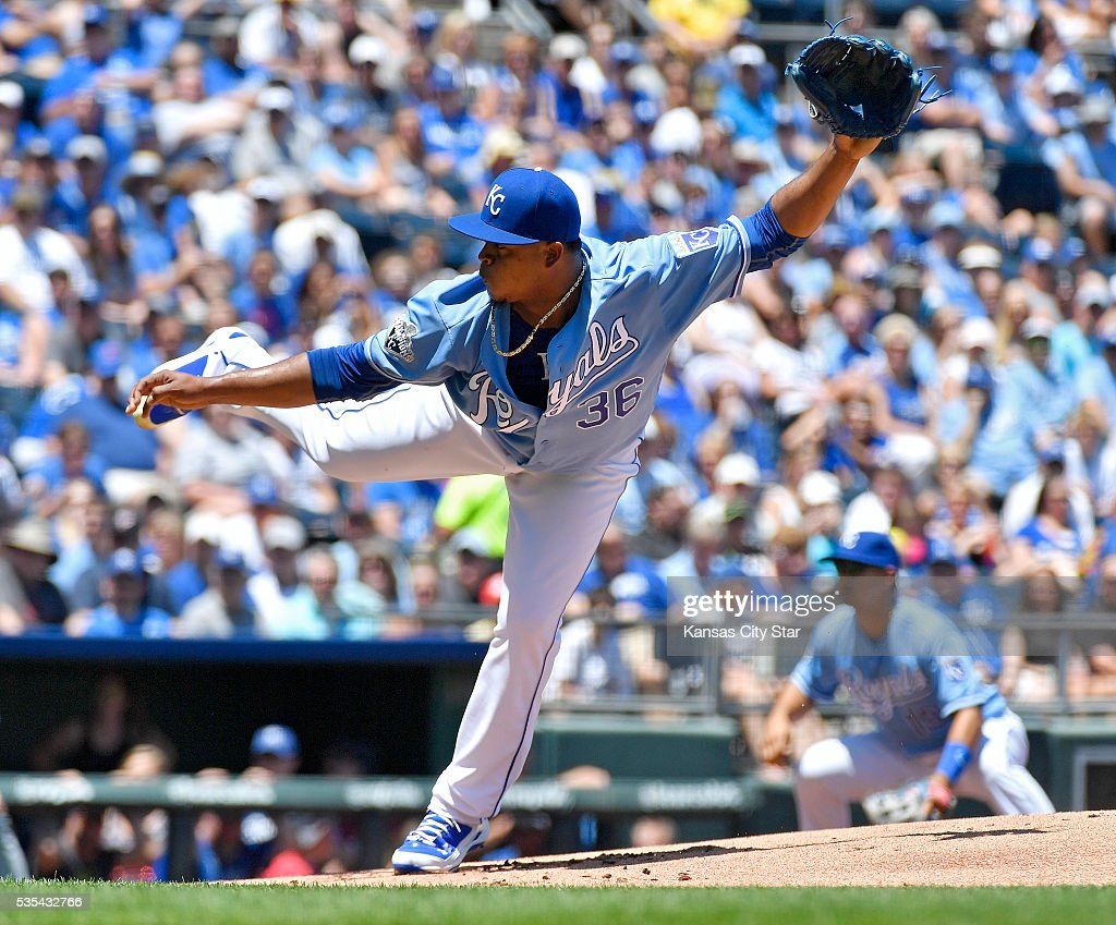 Kansas City Royals starting pitcher Edinson Volquez follows through on a pitch during the first inning on Sunday, May 29, 2016, at Kauffman Stadium in Kansas City, Mo.